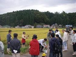 稲刈り体験では、まず生産者の高橋千恵子さんから稲の刈り方を教わりました。<br />