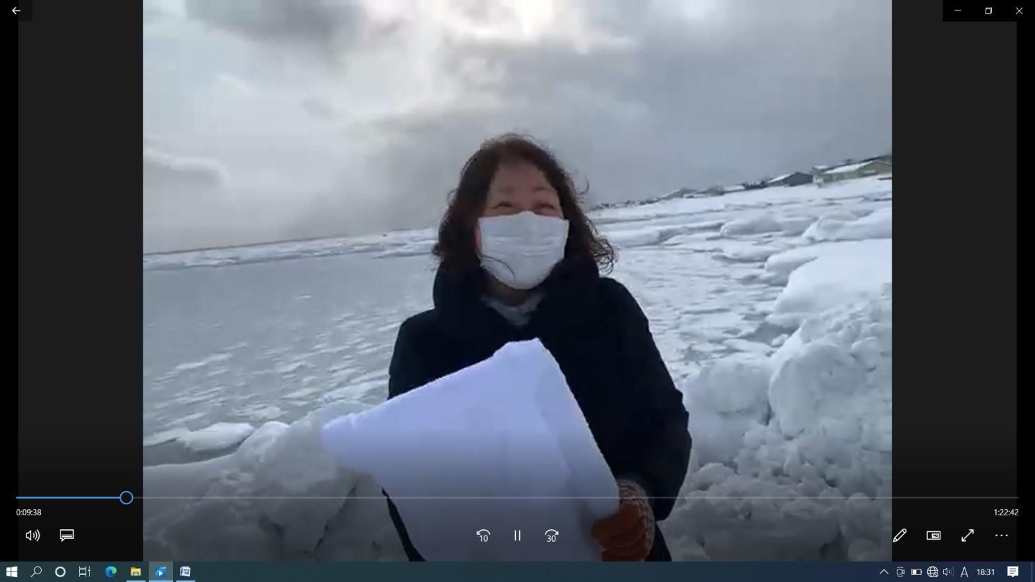 枝幸町から流氷の様子を中継