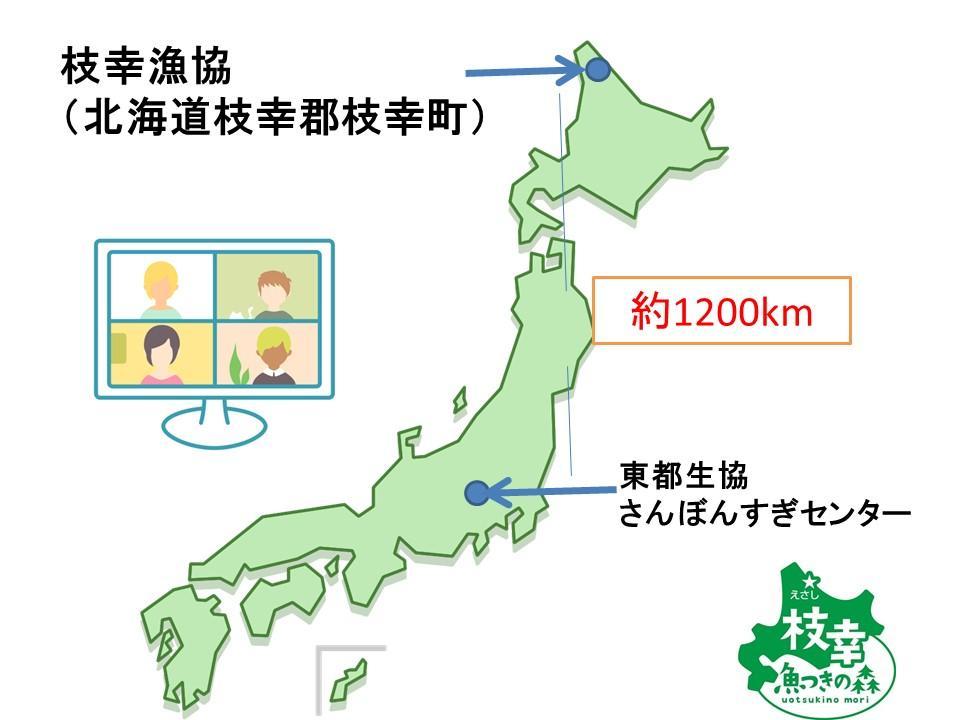 日本の最北地域・枝幸町と東都生協、参加者の自宅をつなぎました